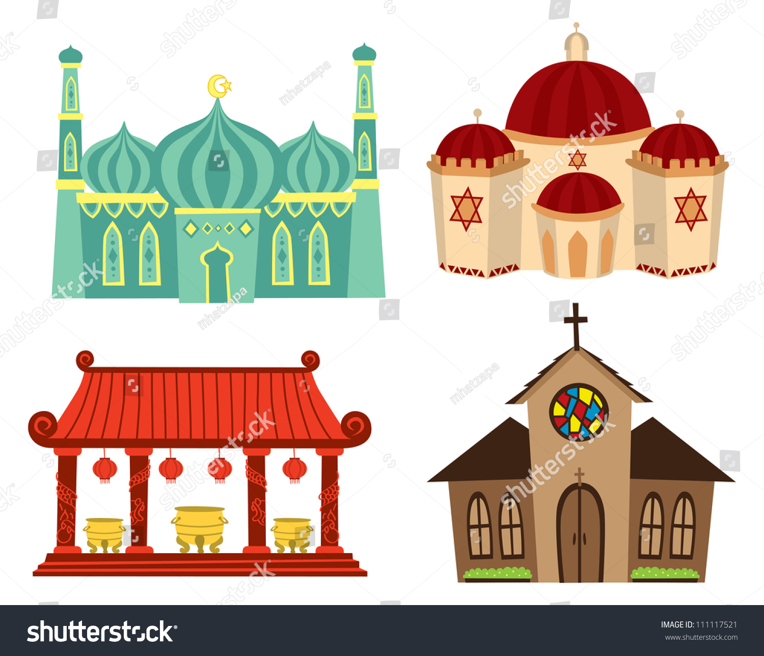Places Of Worship For Taoism: Places Worship Stock Vector 111117521