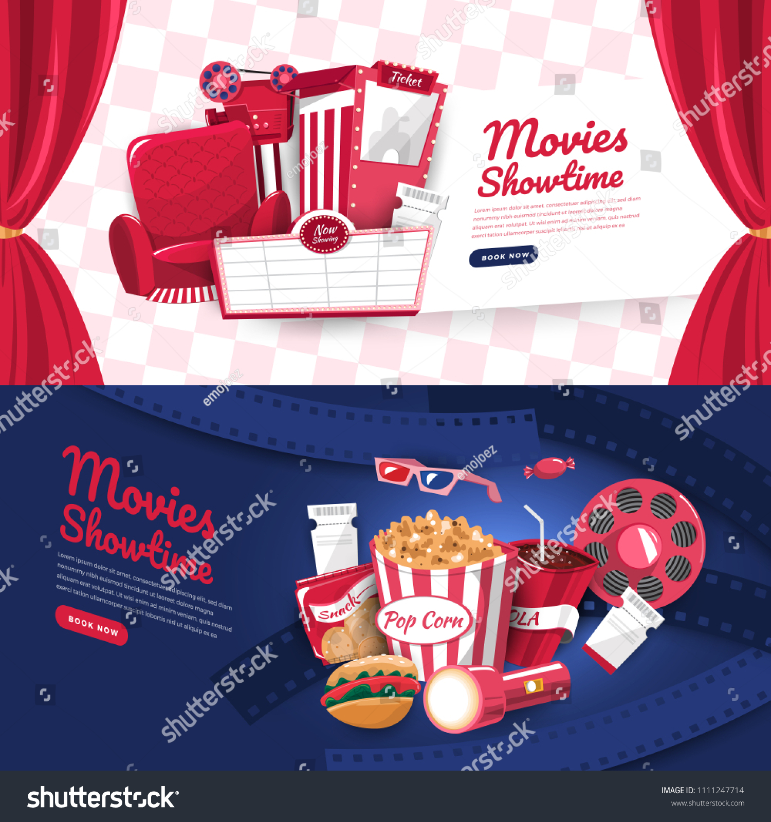 Flat Design Concept Movie Cinema Show Stock Vector Royalty Free 1111247714