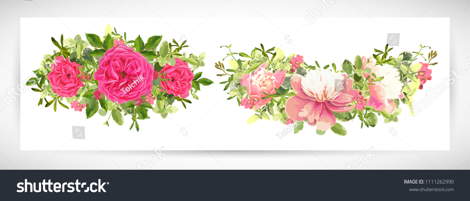 floral template design bouquet whitepink peony stock vector royalty