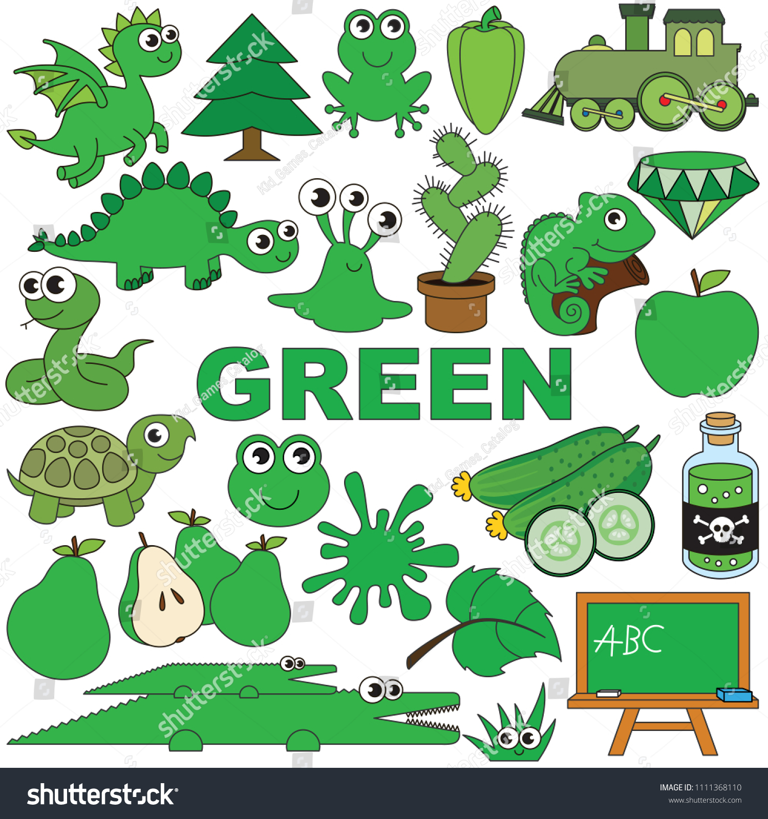 Green Objects Color Elements Set Collection Stock Vector (Royalty ...