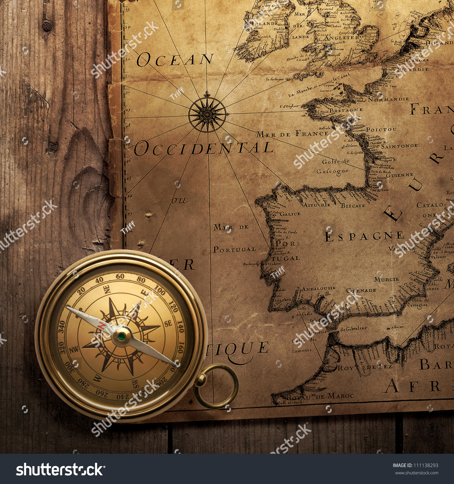 Old Compass On Vintage Map France Stock Photo Shutterstock - Portugal england map