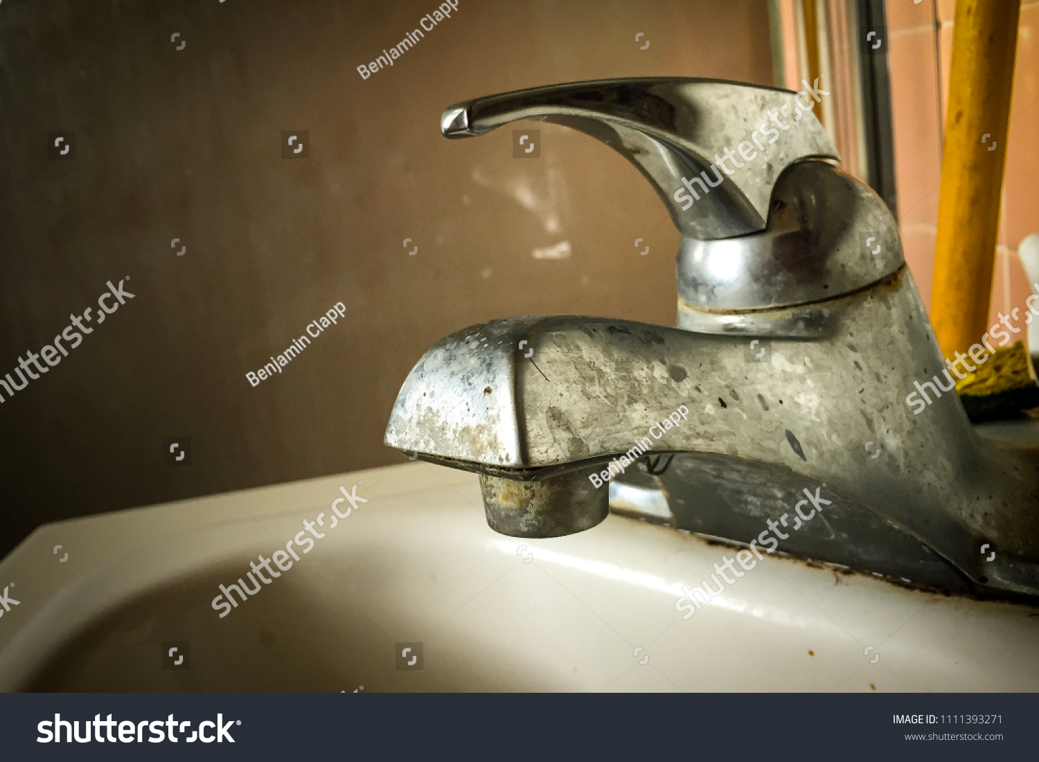 Old Bathroom Sink Faucet Covered Grime Stock Photo (100% Legal ...
