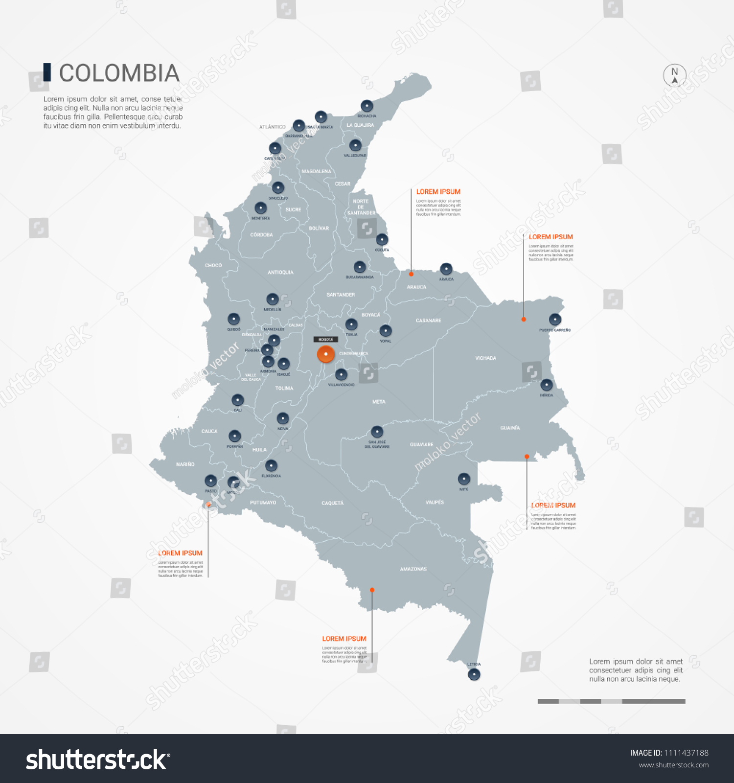 Colombia Map Borders Cities Capital Bogota Stock Vector (Royalty ...