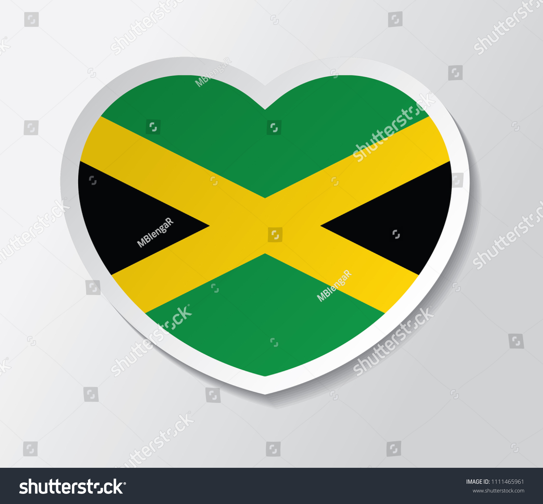 Jamaica flag vector in heart love shape vector