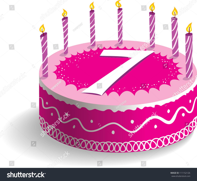 Seventh Birthday Cake Stock Vector 111152126 Shutterstock