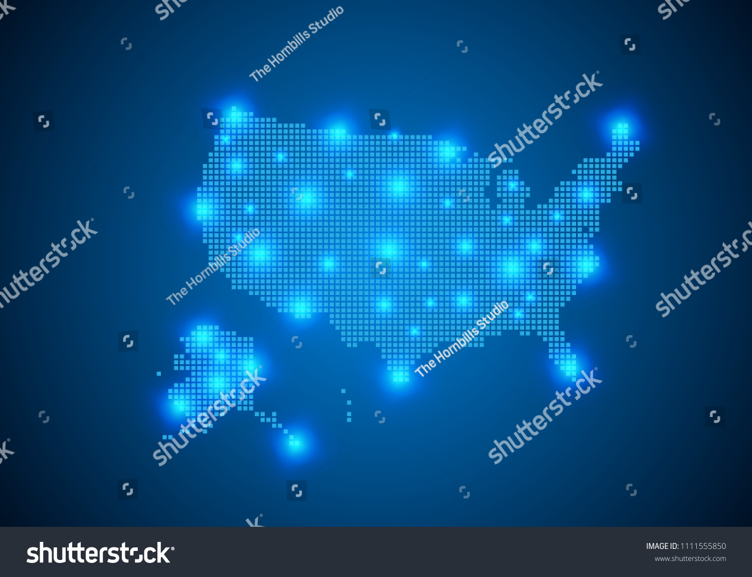 Abstract Blue Background USA Map Internet Stock Vector (Royalty Free ...