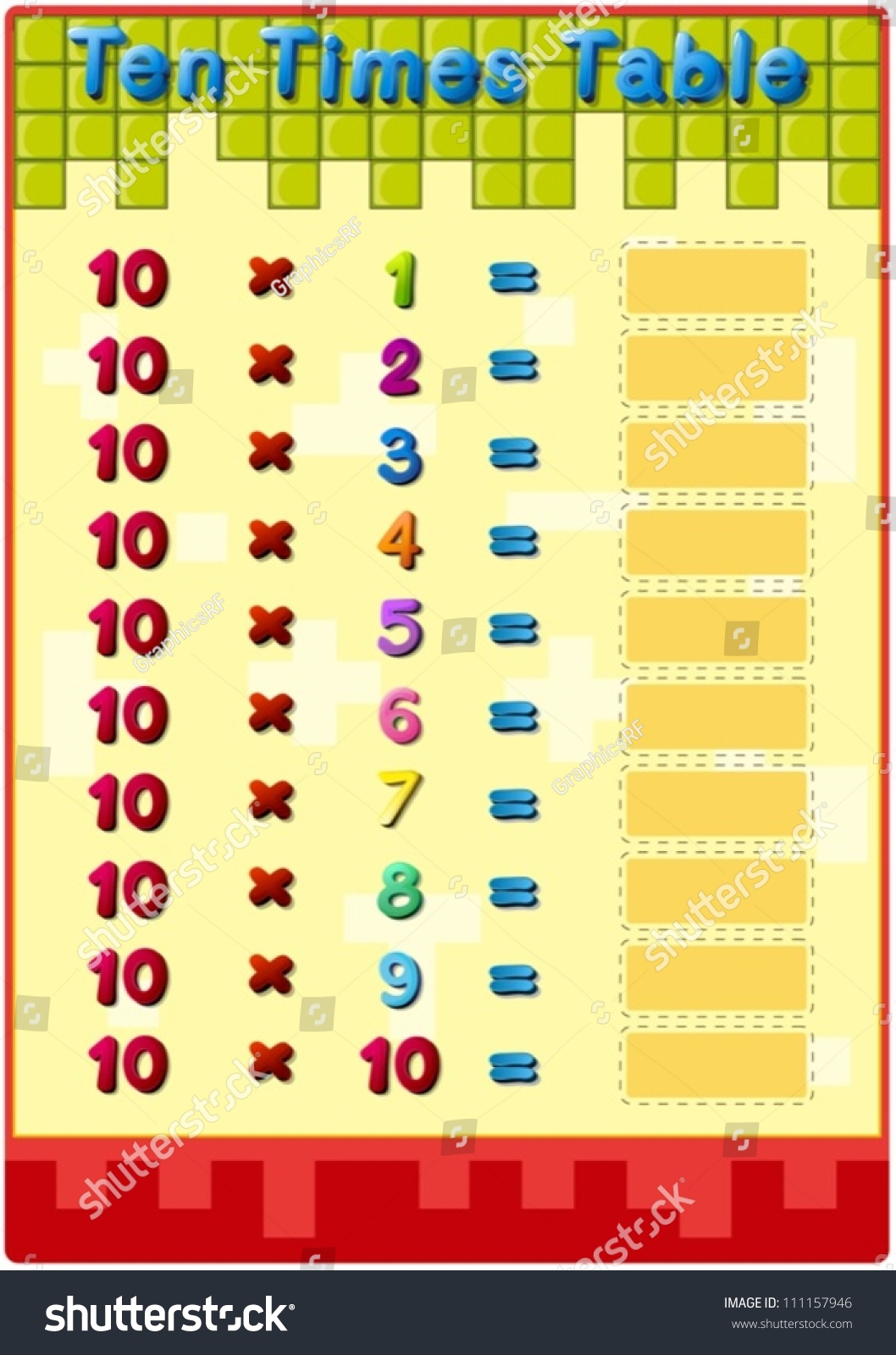 Worksheet 10 times tables stock vector 111157946 for 10 times table worksheet