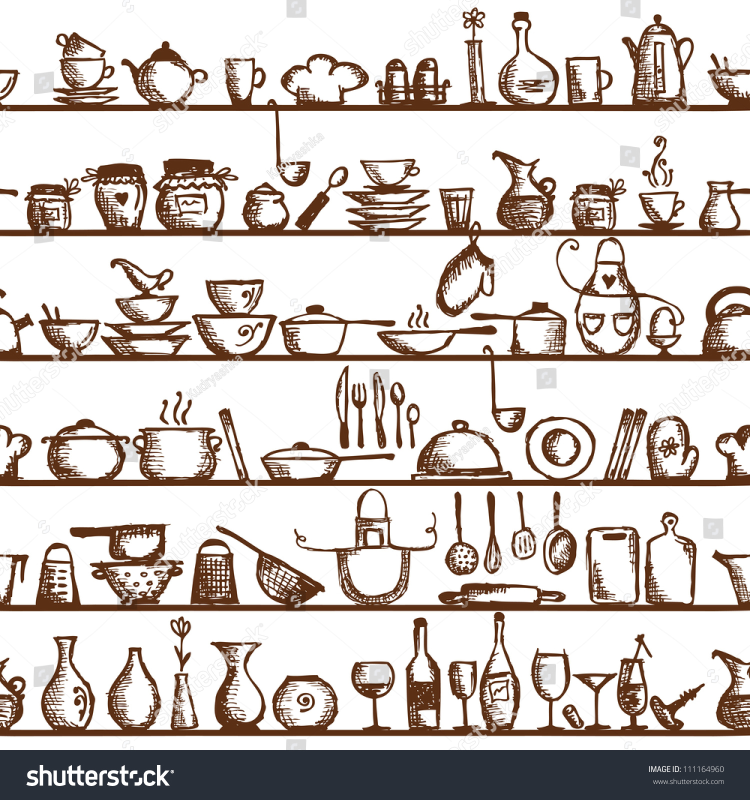 Kitchen Utensils On Shelves Sketch Drawing Seamless Pattern