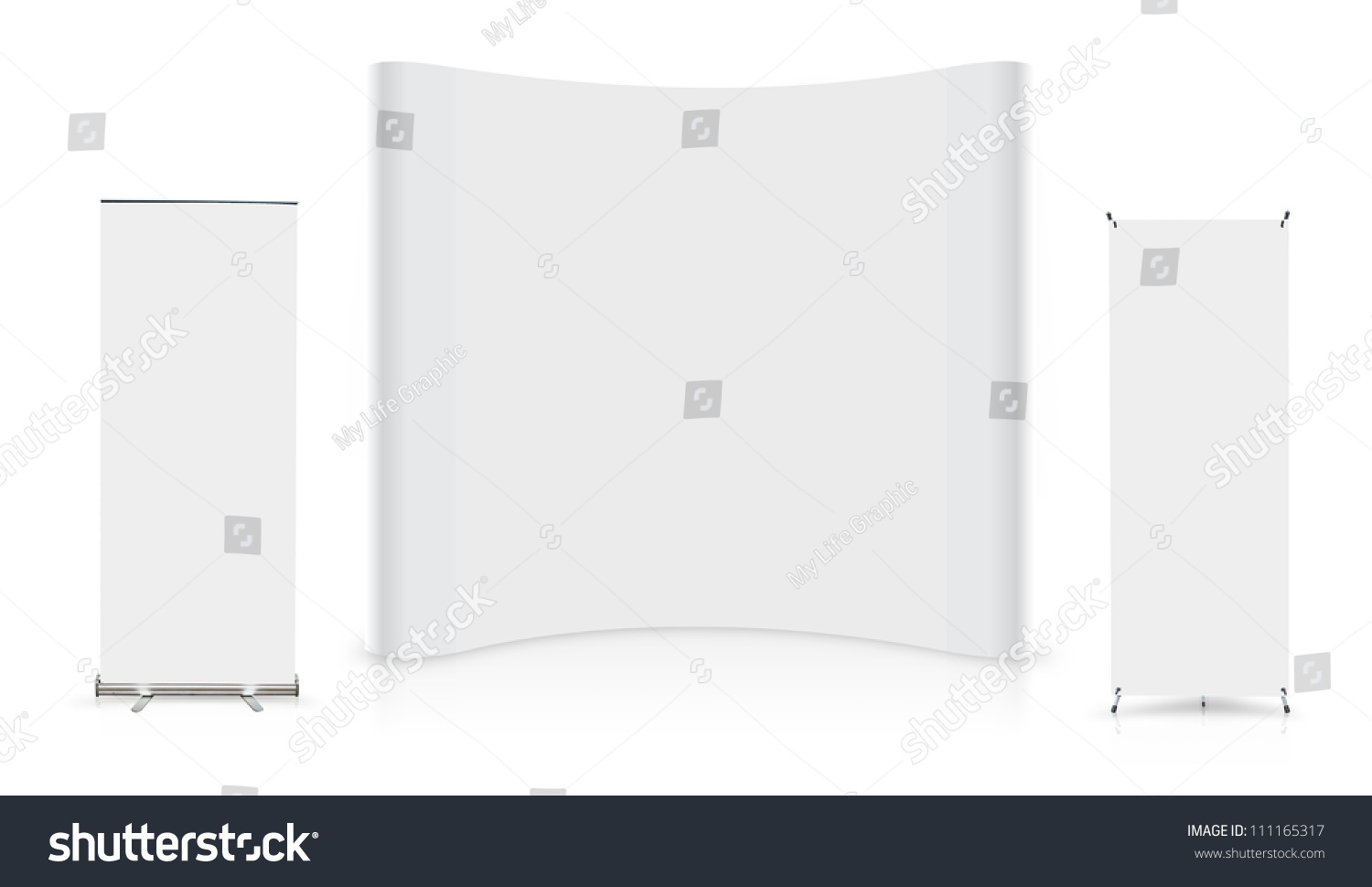 Exhibition Booth Banner : Blank trade show booth roll banner stock illustration