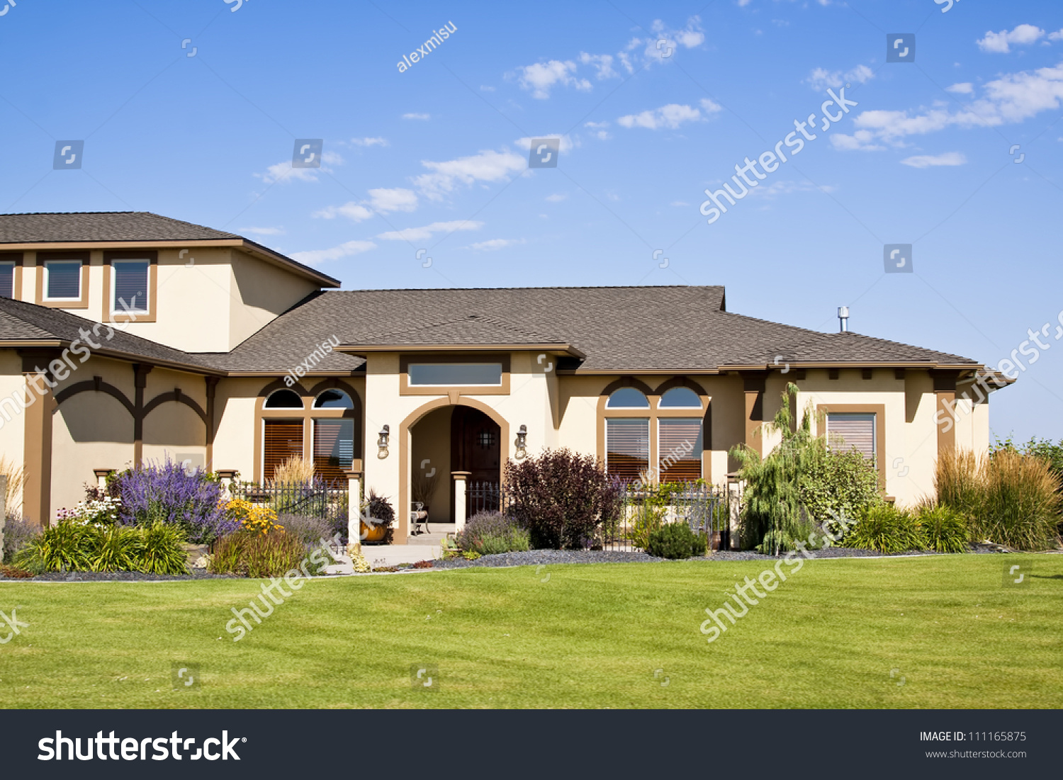 Modern House Front ntrance With Green Grass Stock Photo ... - ^