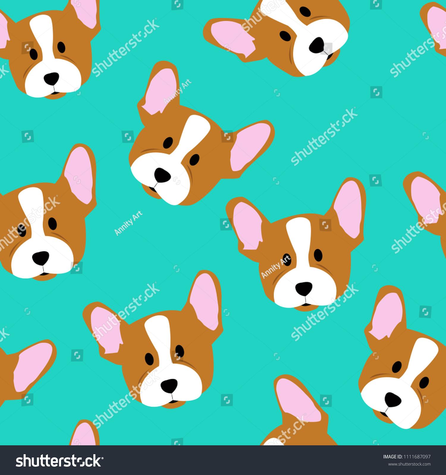 Vector Seamless Pattern Cute Cartoon Dog Stock Vector Royalty Free
