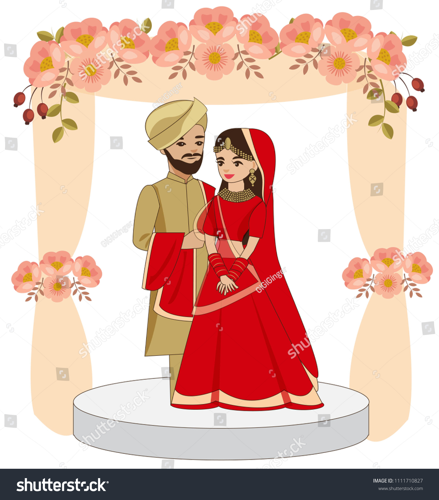 Cute Indian Couple Traditional Wedding Dress Stock Vector (Royalty ...