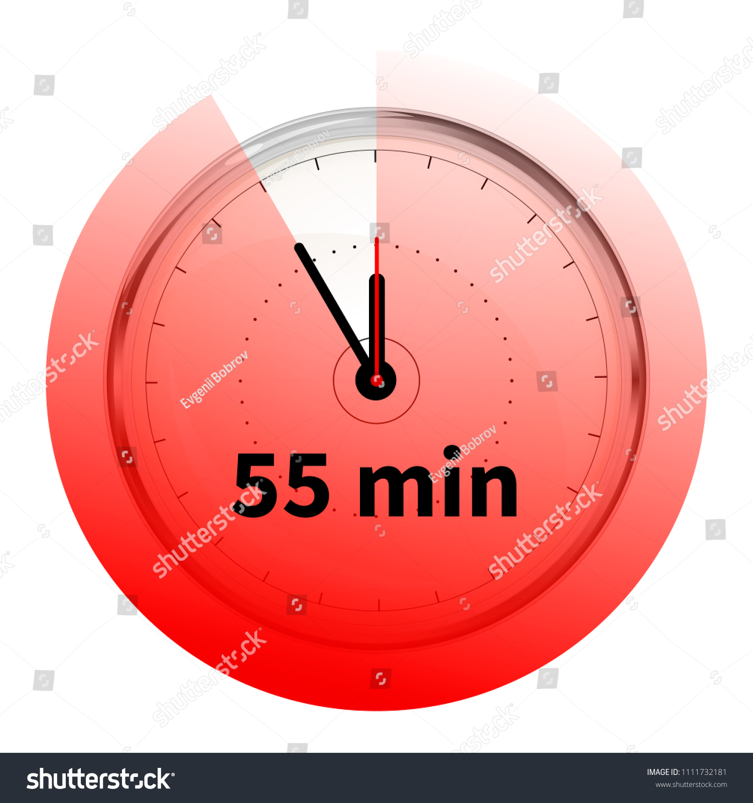 realistic clock face fifty five minutes stock illustration