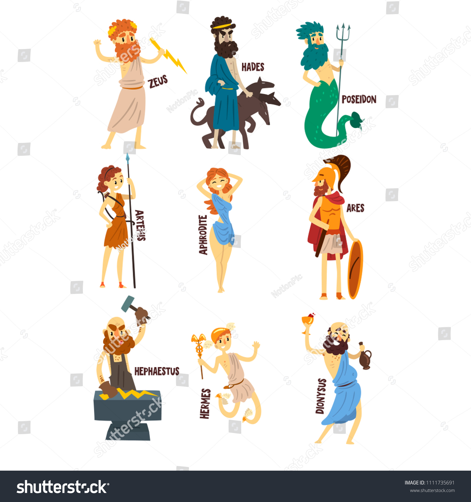 Greek Gods Set Dionysus Hermes Hephaestus Zeus Stock Vector Royalty