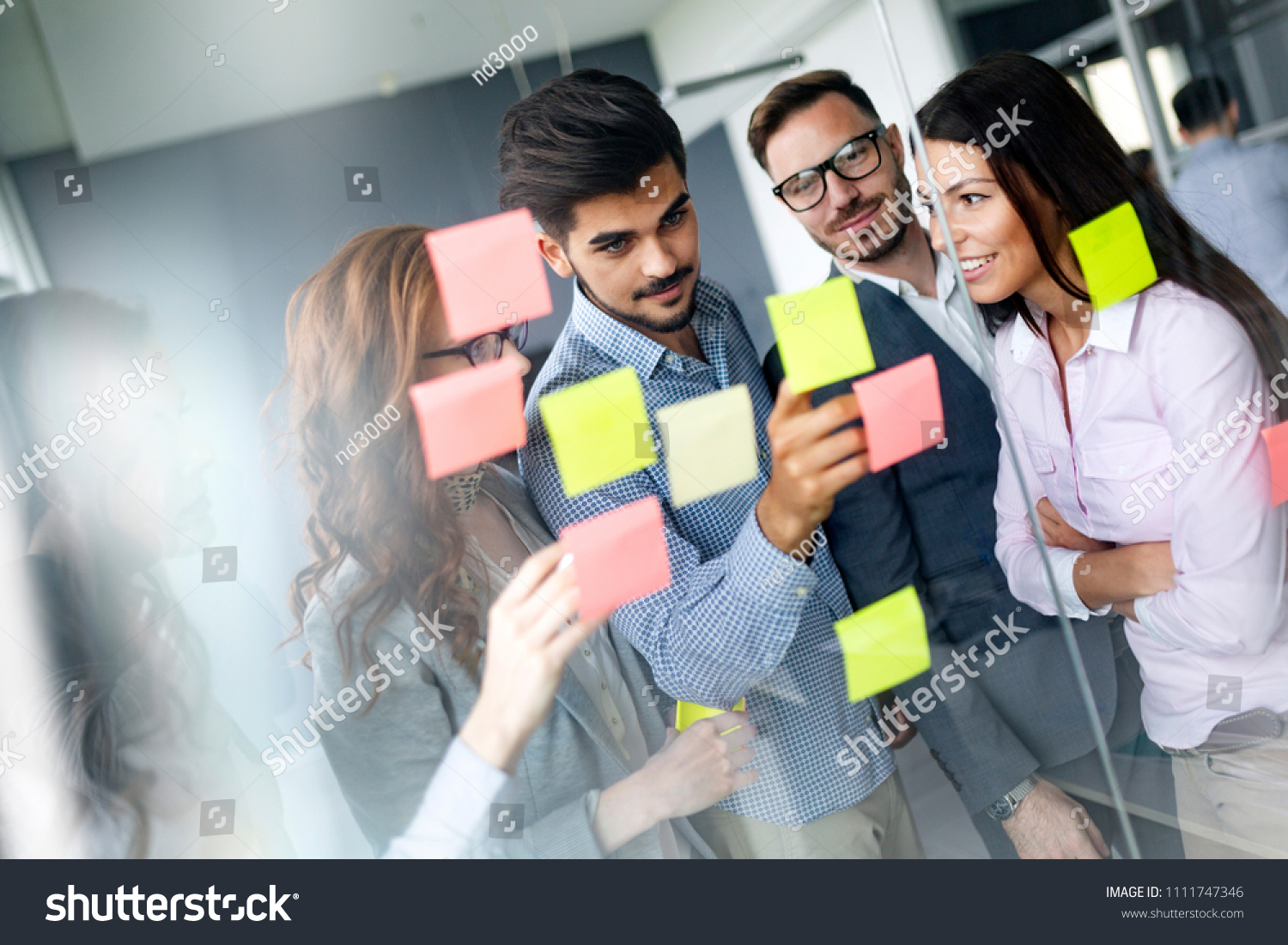 Business people meeting at office and use post it notes to share idea #1111747346