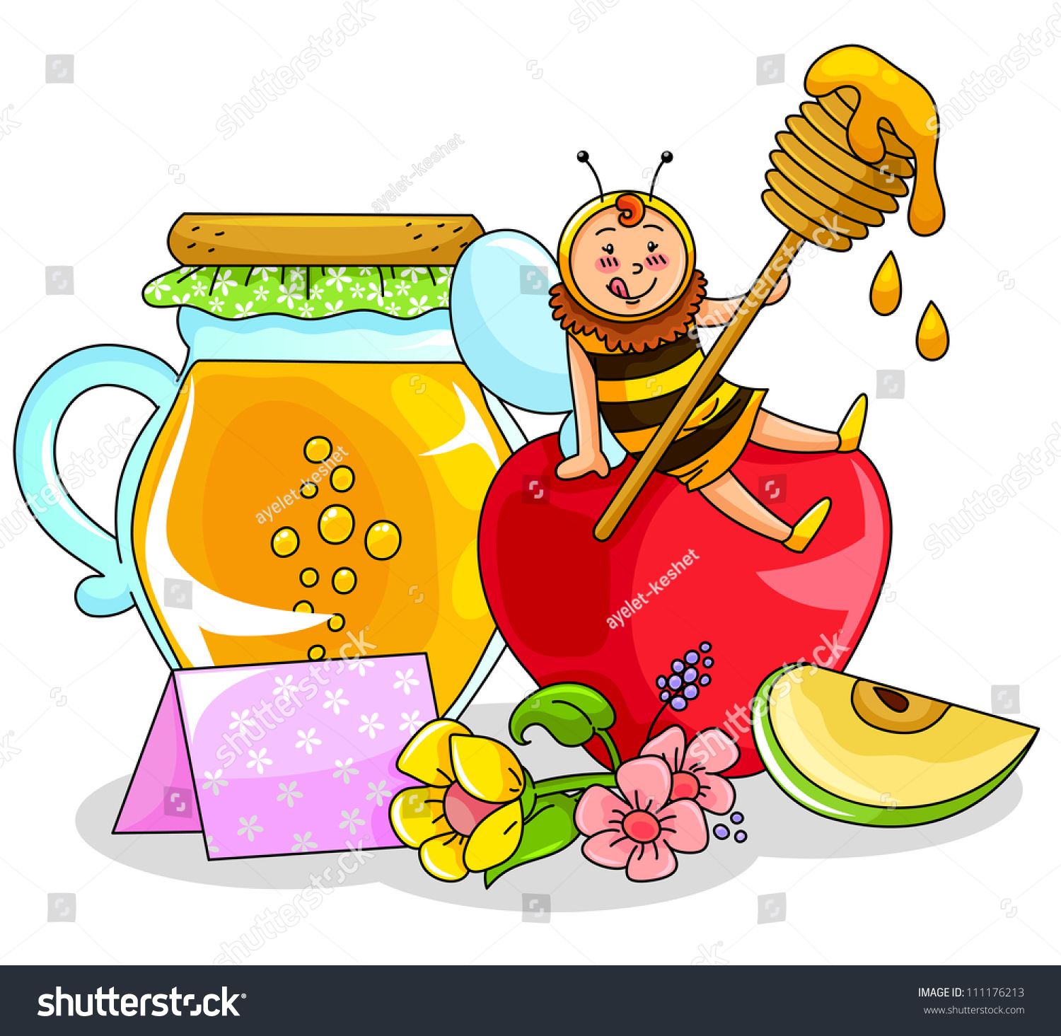 bee sitting on an apple next to a honey jar symbols of the jewish new