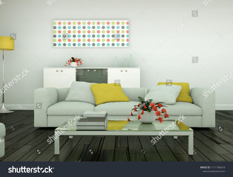 Modern bright living room interior design with sofas 3d illustration