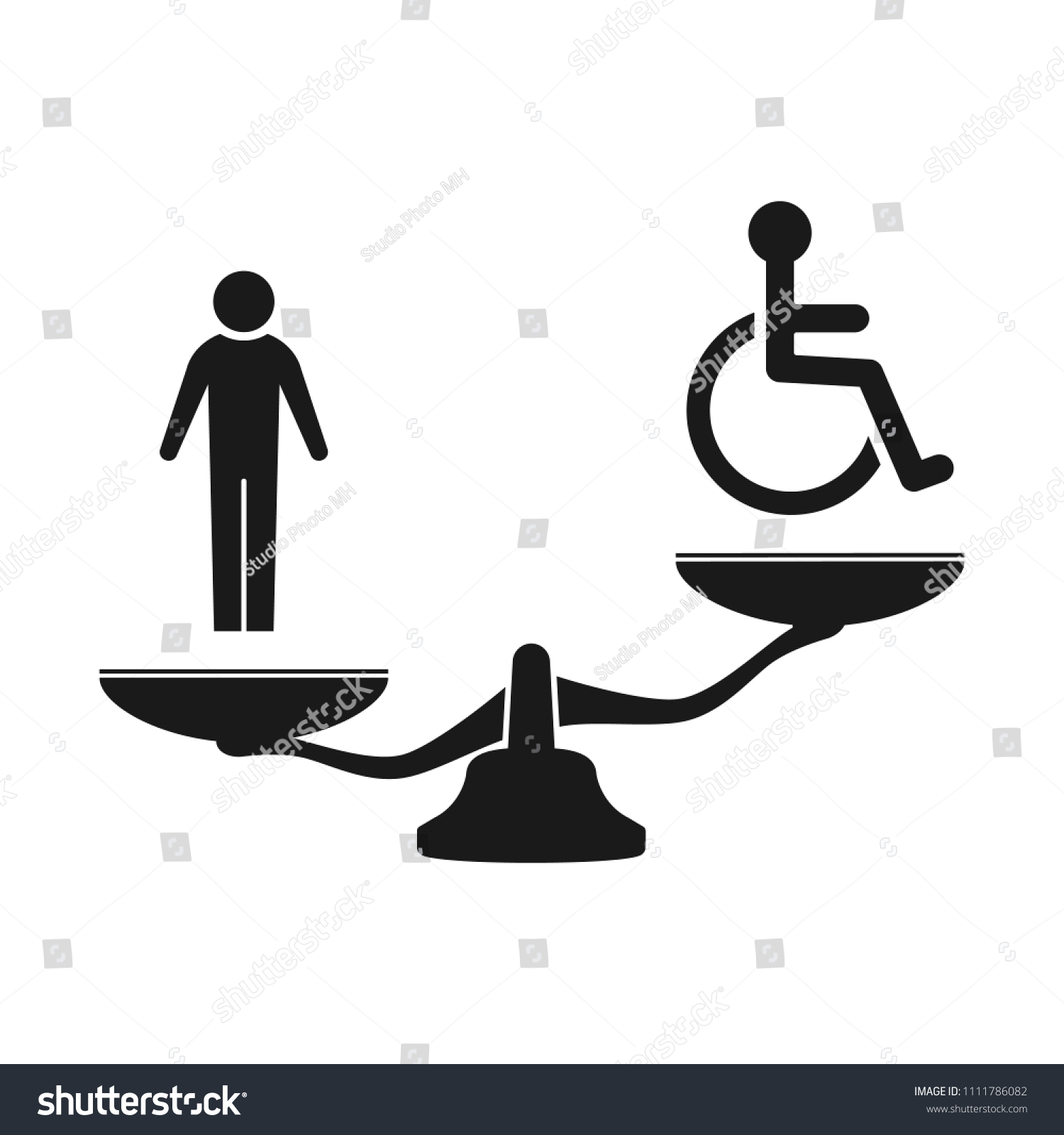 Disabled Injustice Scales Icon Stock Vector Royalty Free