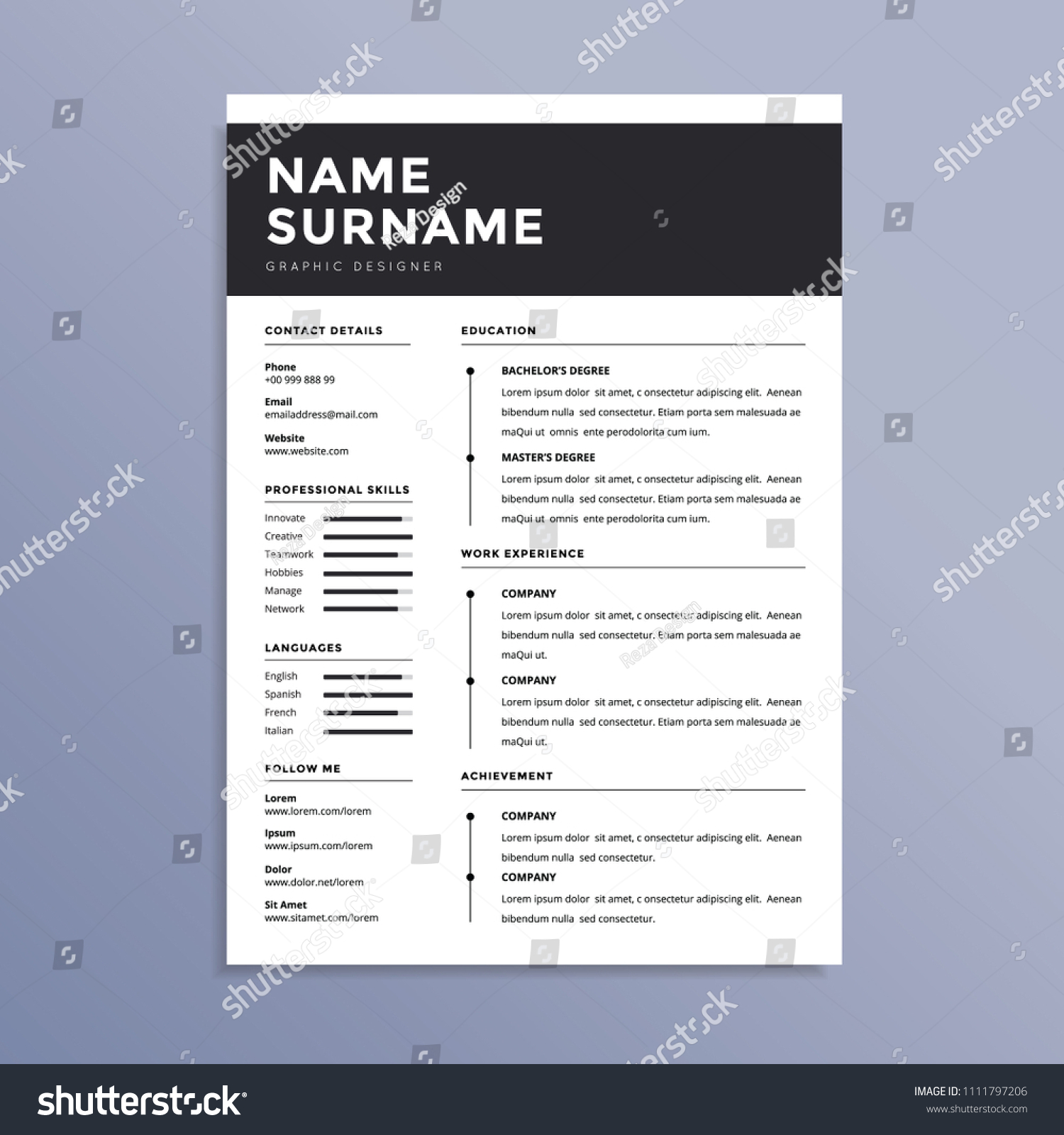 Modern Professional Resume CV Design Stock Vector 1111797206 ...