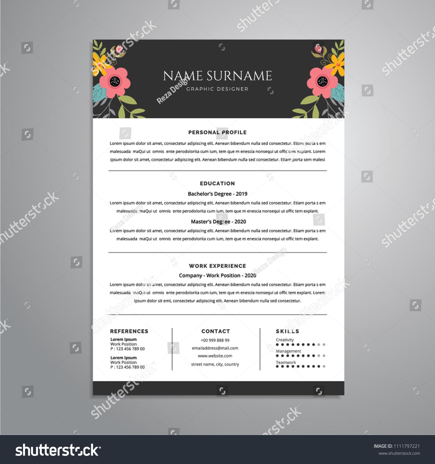 Modern Professional Resume Cv Design Stock Vector Royalty Free