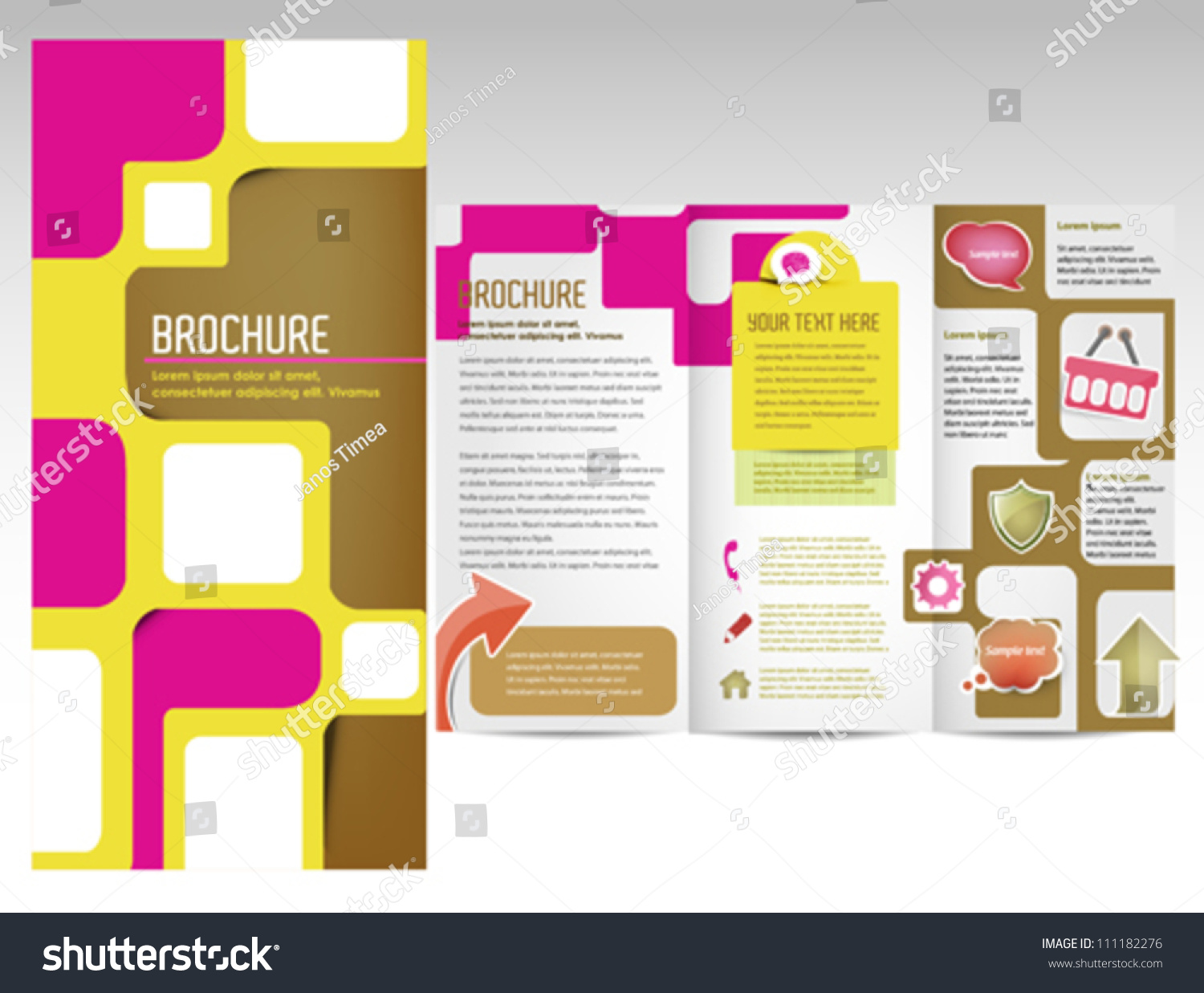Attractive Brochure Template Inner Pages Document Stock Vector - Brochure template for pages