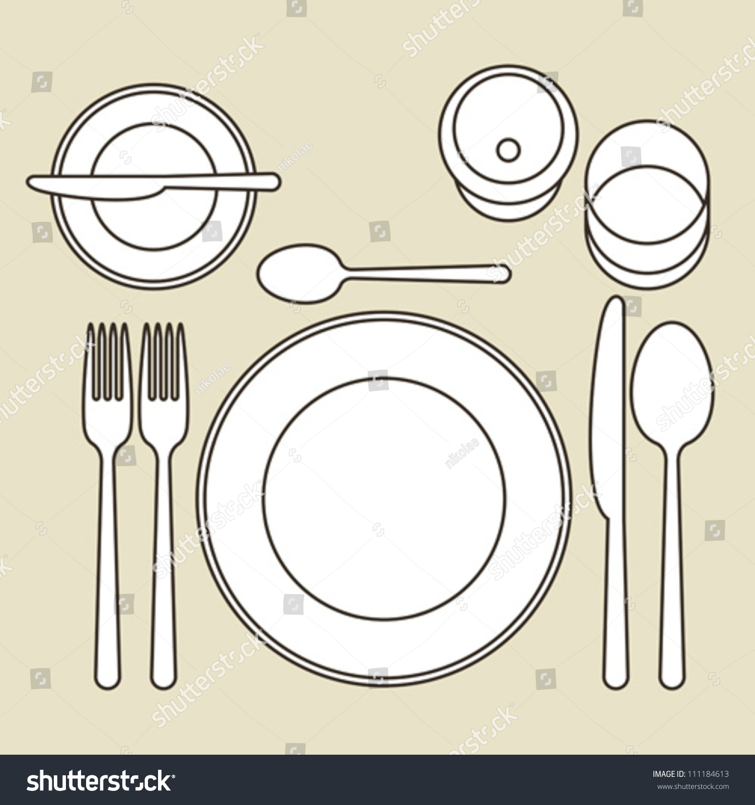 Place setting stock vector illustration 111184613 for Place setting images