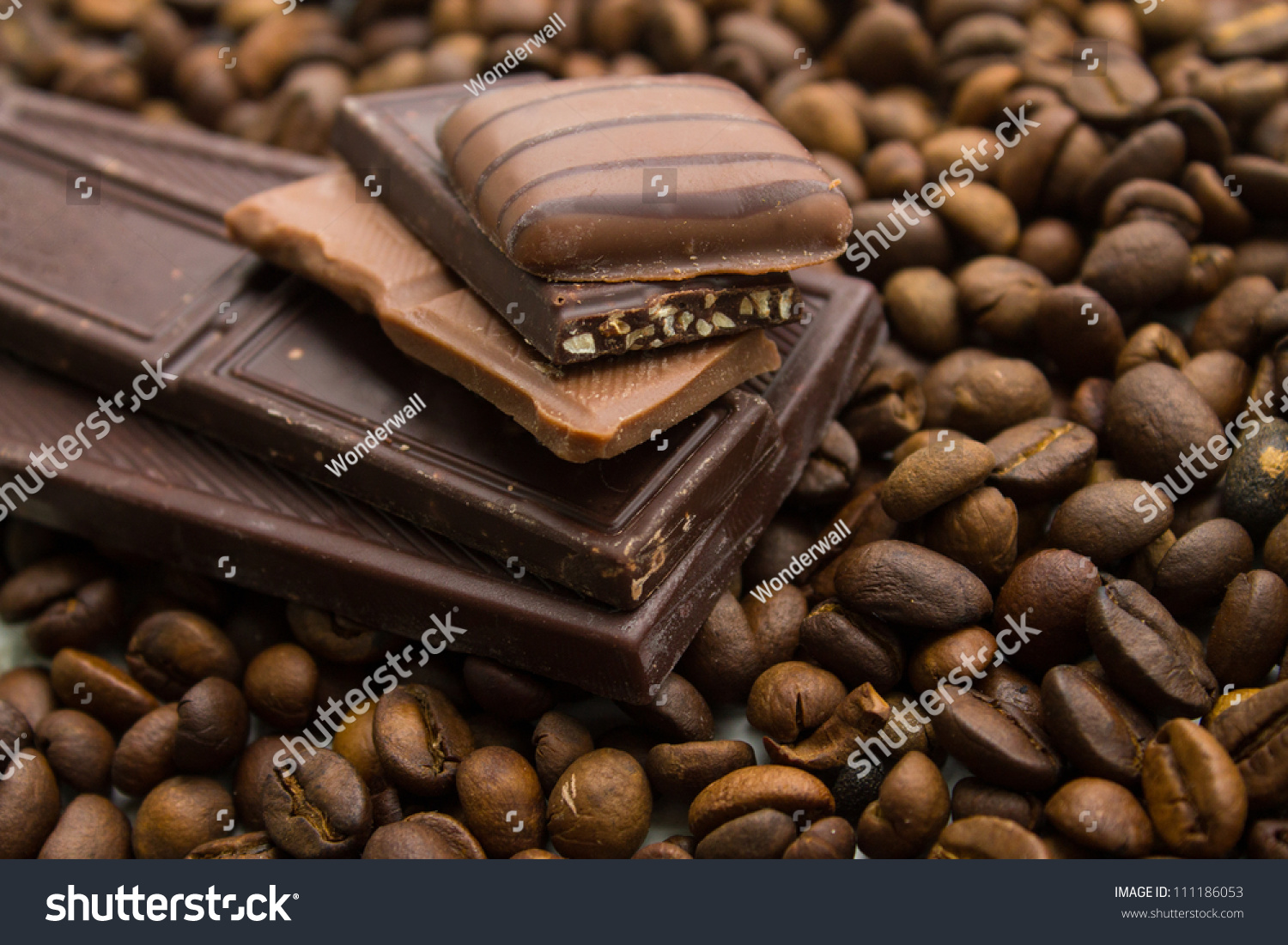 Different Types Chocolate On Coffee Beans Stock Photo 111186053 ...