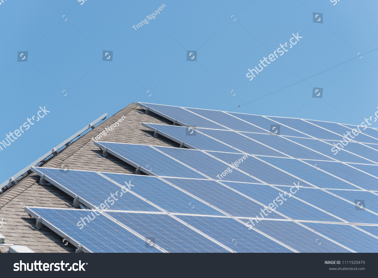 Renewable Clean Vs Traditional Energy Closeup Stock Photo Edit Now Marine Solar Panel Wiring Close Up System On Asphalt Shingles