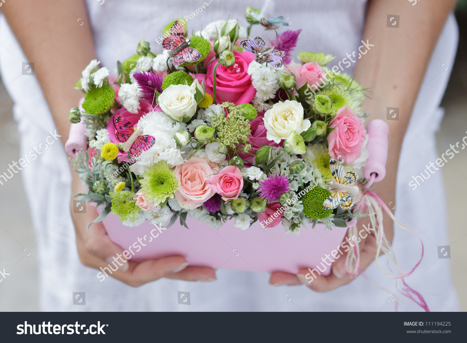 Bridal Wedding Bouquet Of Flowers In White Pink And Green Ez Canvas