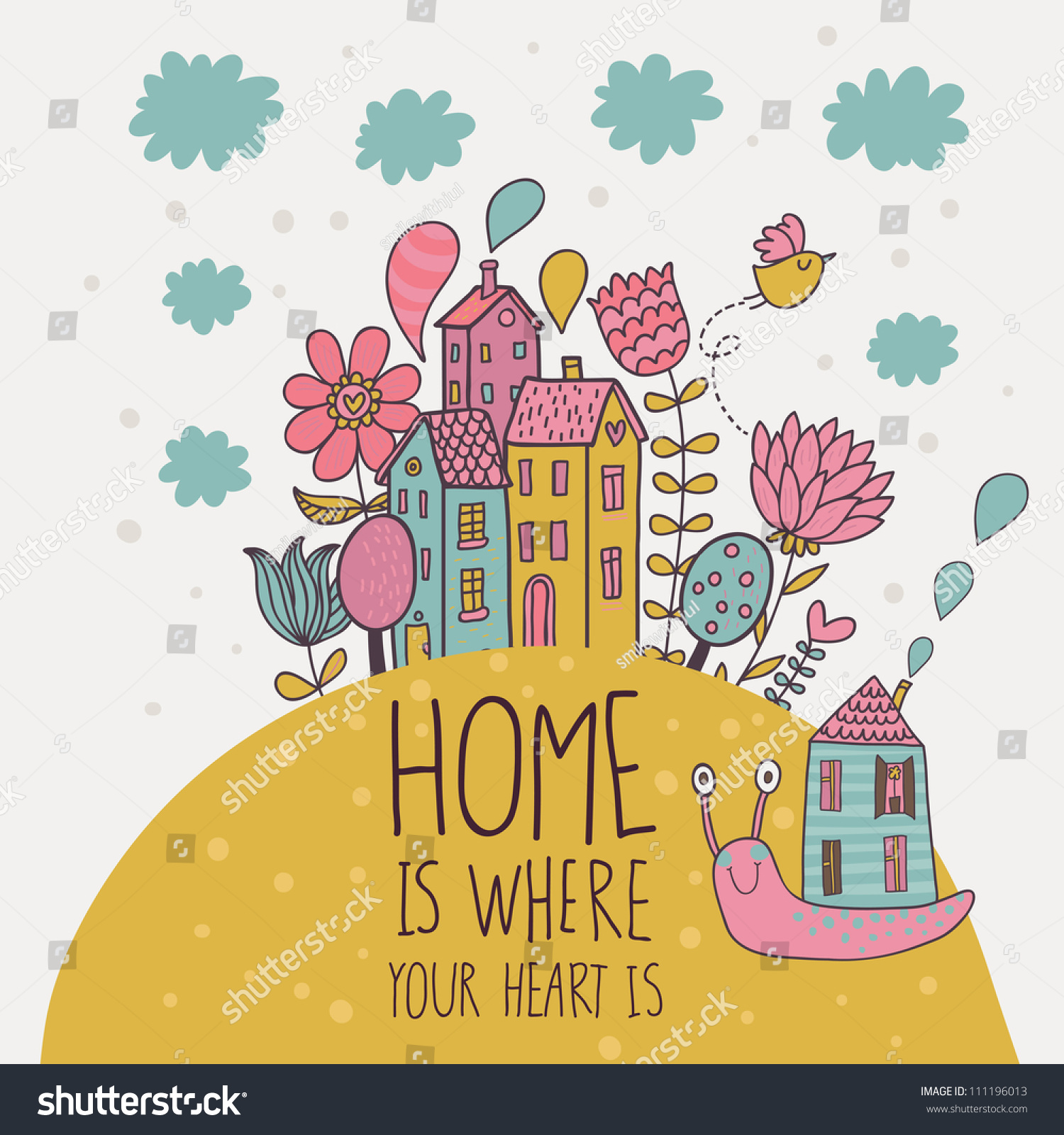 home where you heart is cartoon stock vector 111196013 shutterstock. Black Bedroom Furniture Sets. Home Design Ideas