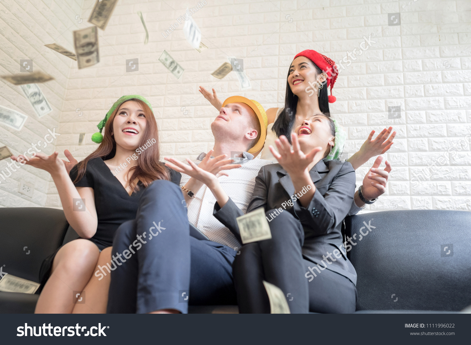 a6292d4c8d Group of Beautiful women in the rain of money With A handsome rich man.  Money.