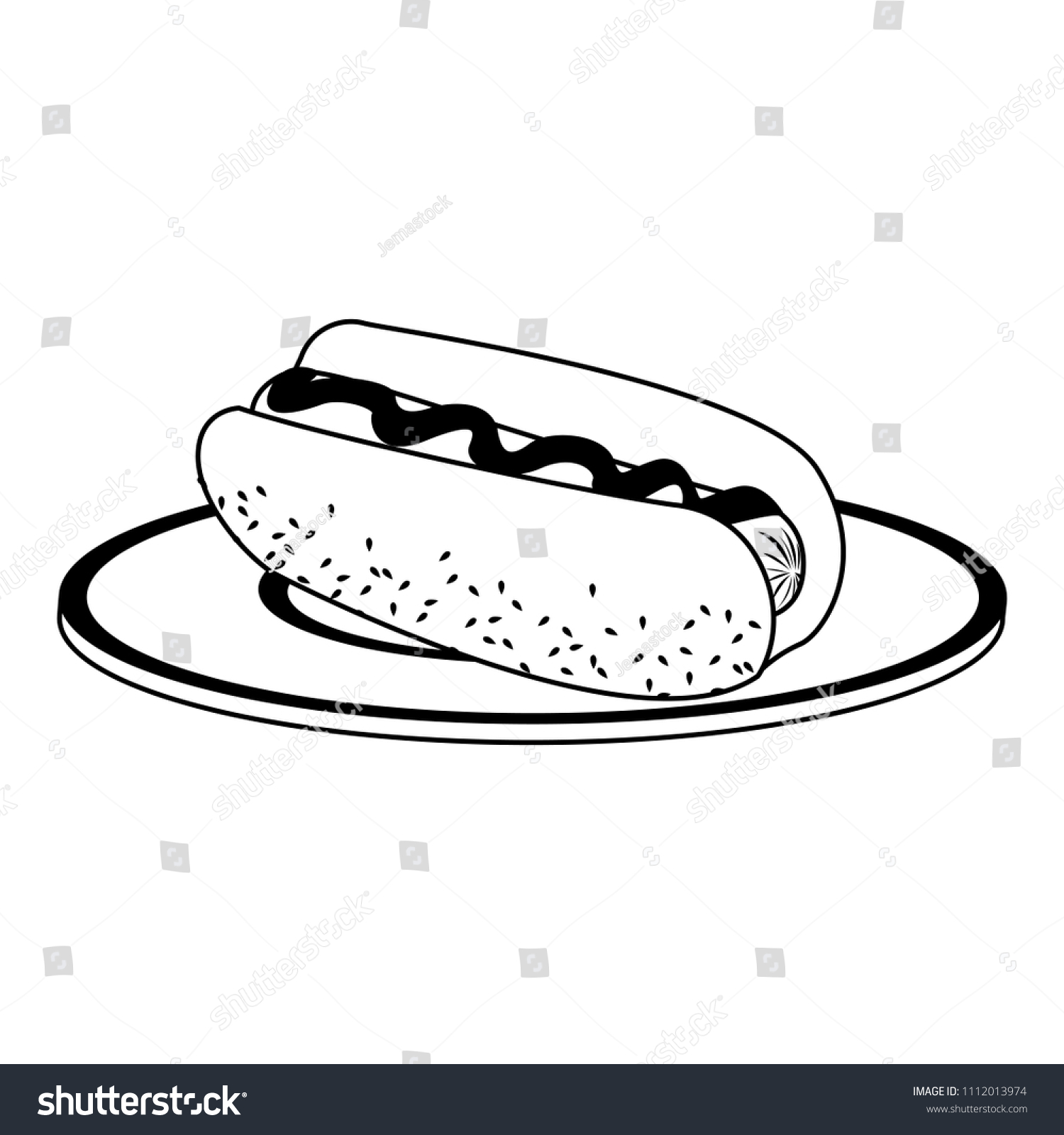 Hot Dog On Dish Black White Stock Vector Royalty Free 1112013974