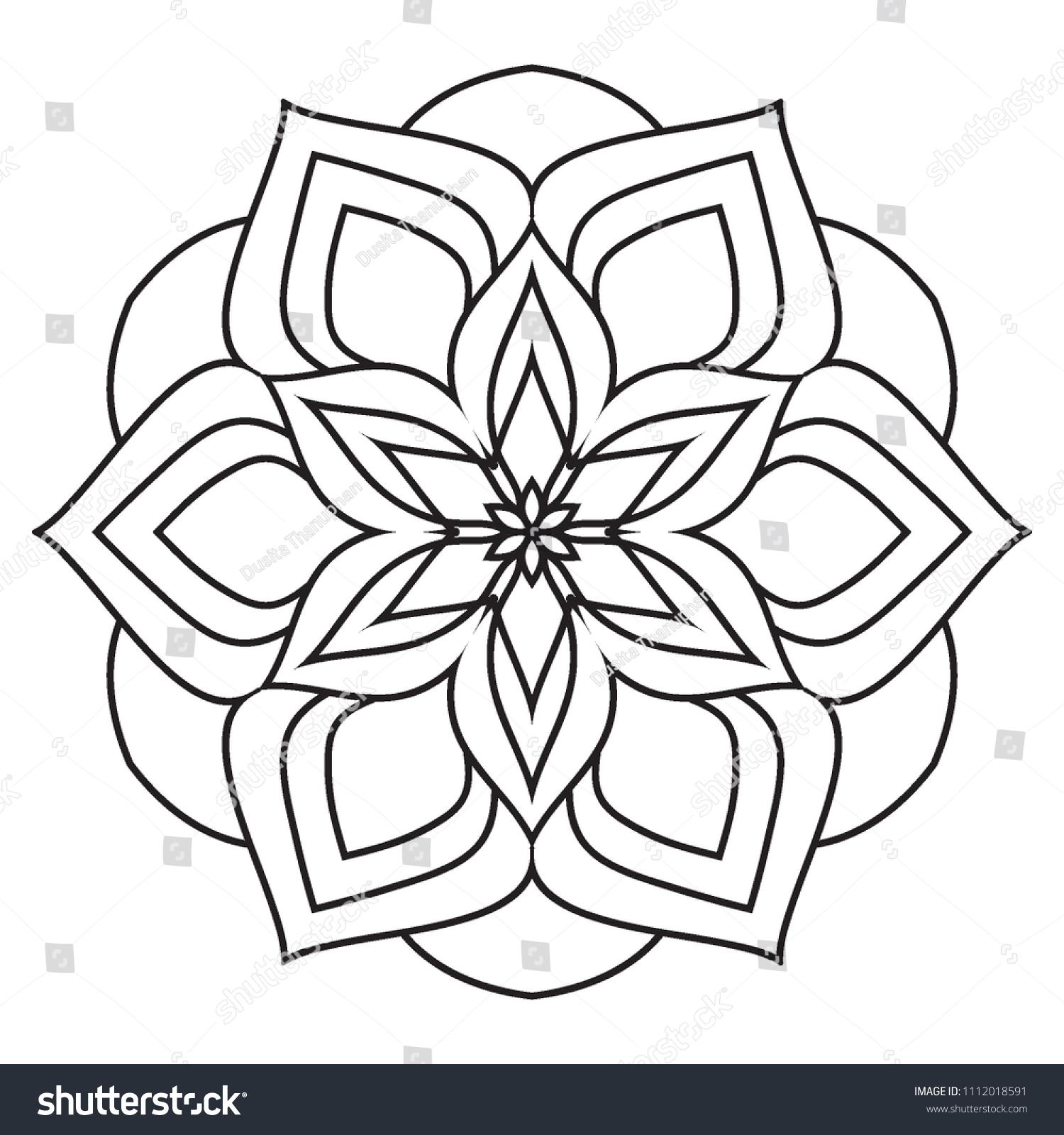 Einfache Mandala Farbung Einfach Und Einfach Stockillustration