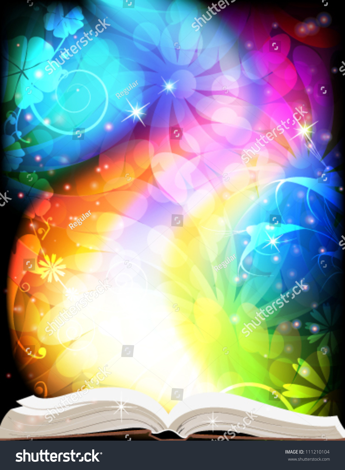 How To Make A Rainbow Book Cover ~ Open book fairy tales on rainbow stock vector