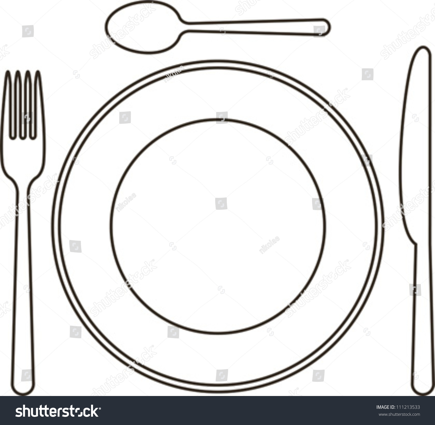 Place Setting Plate Knife Spoon Fork Stock Vector  : stock vector place setting with plate knife spoon and fork 111213533 from www.shutterstock.com size 1500 x 1465 jpeg 300kB