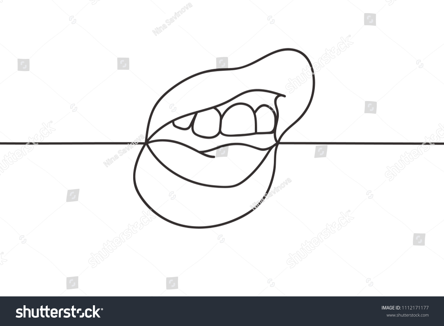 Beautiful Continuous Line Sexy Lips Art Stock Vector Royalty Free 1112171177