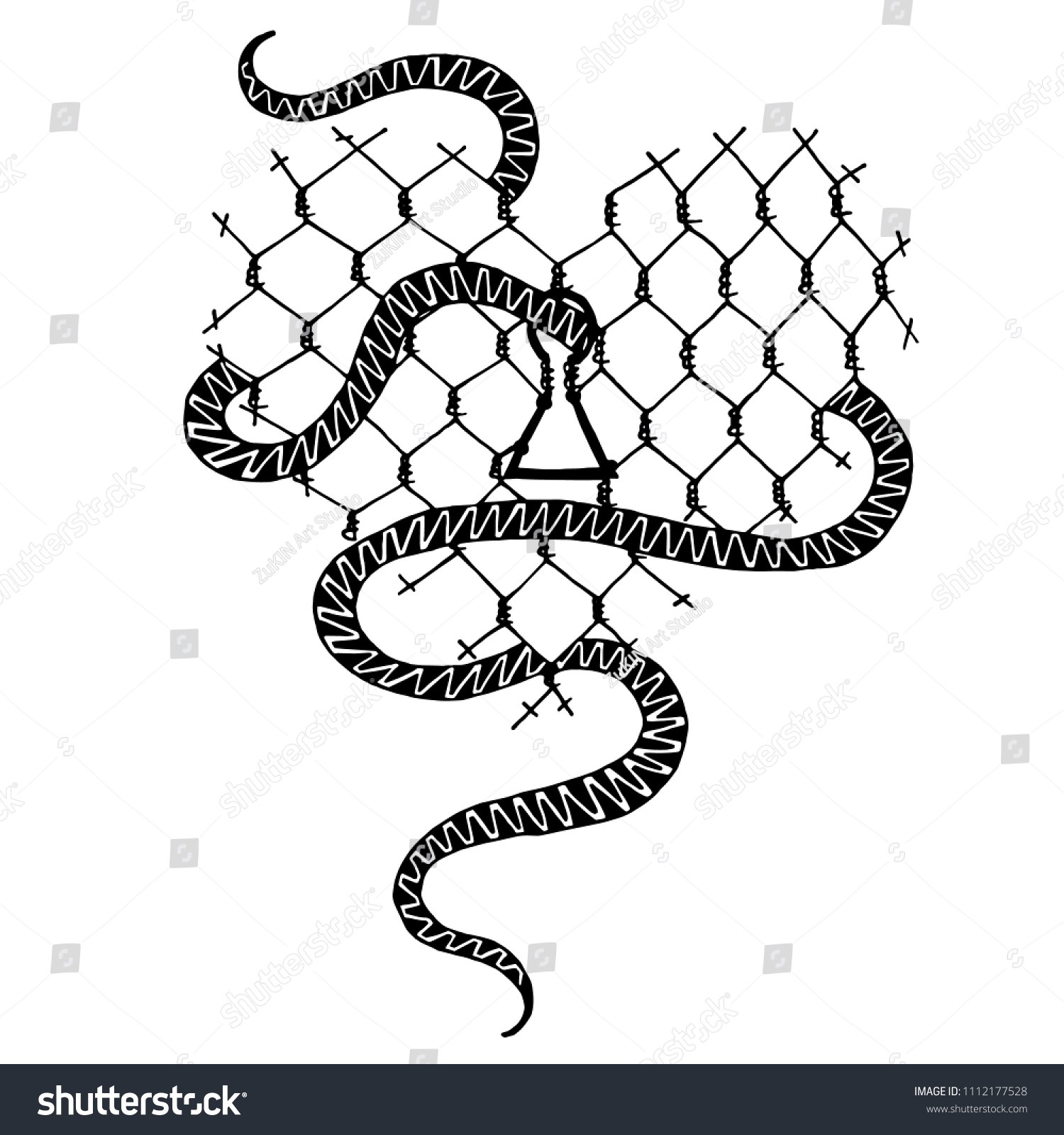 Vector Sketch Heart Barbed Wire Snake Stock Vector 1112177528 ...