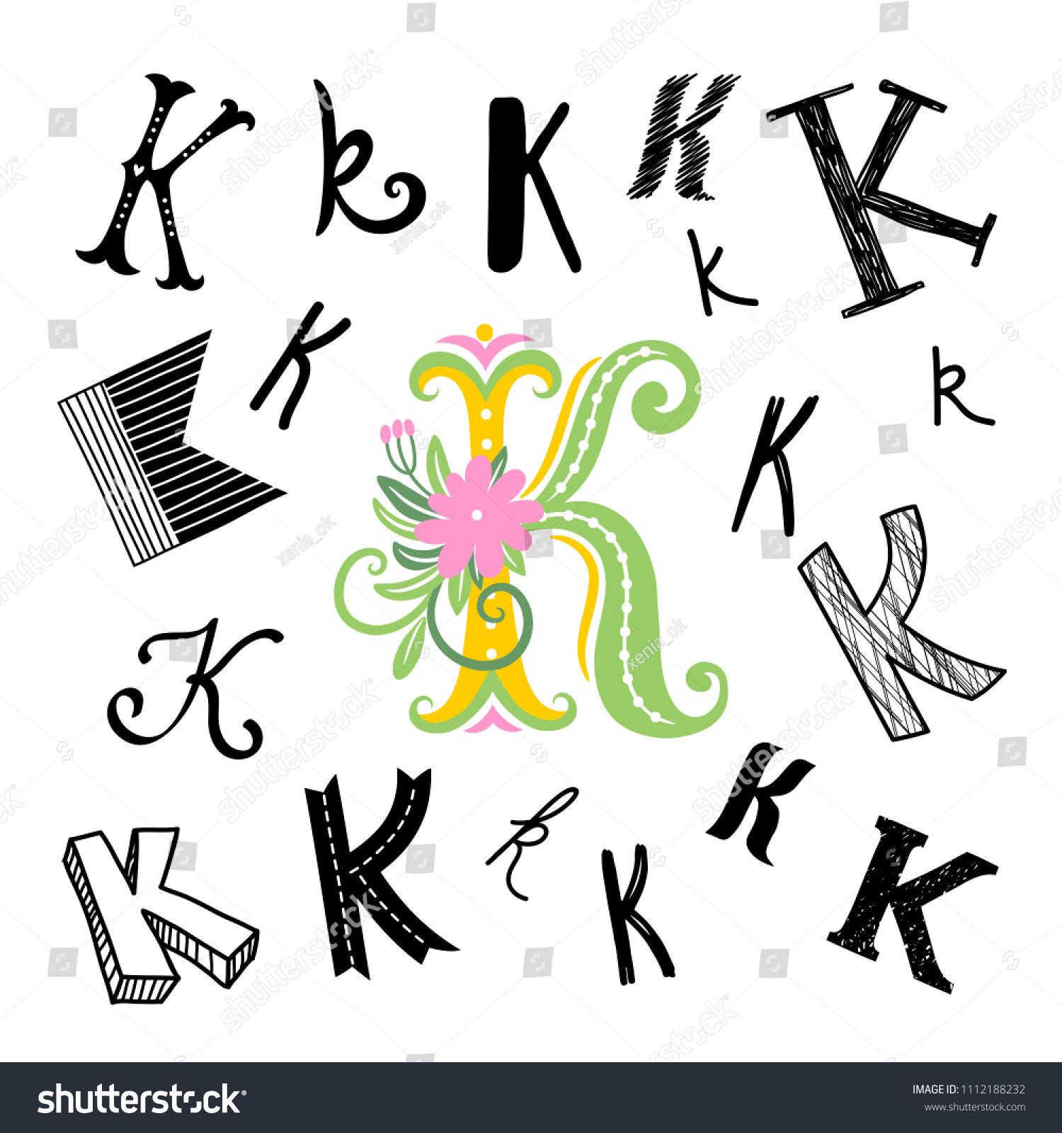 Set Letter K Different Style Freehand Stock Vector Royalty Free