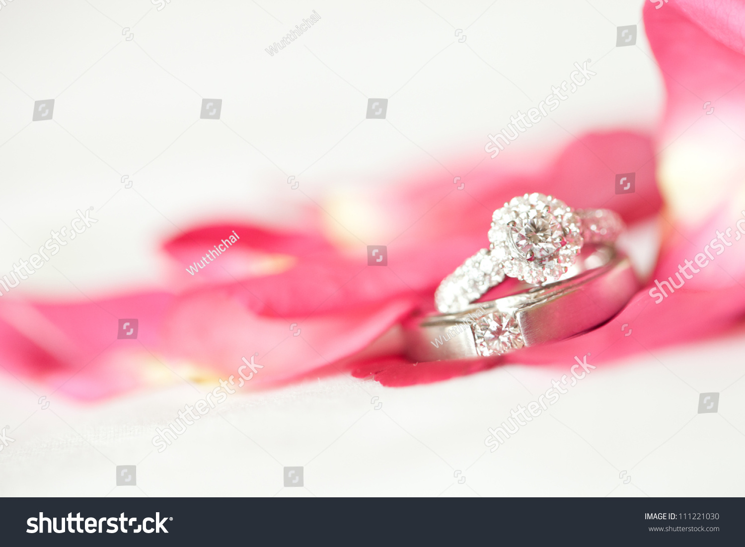Red Rose Diamond Ring On White Stock Photo (Edit Now) 111221030 ...