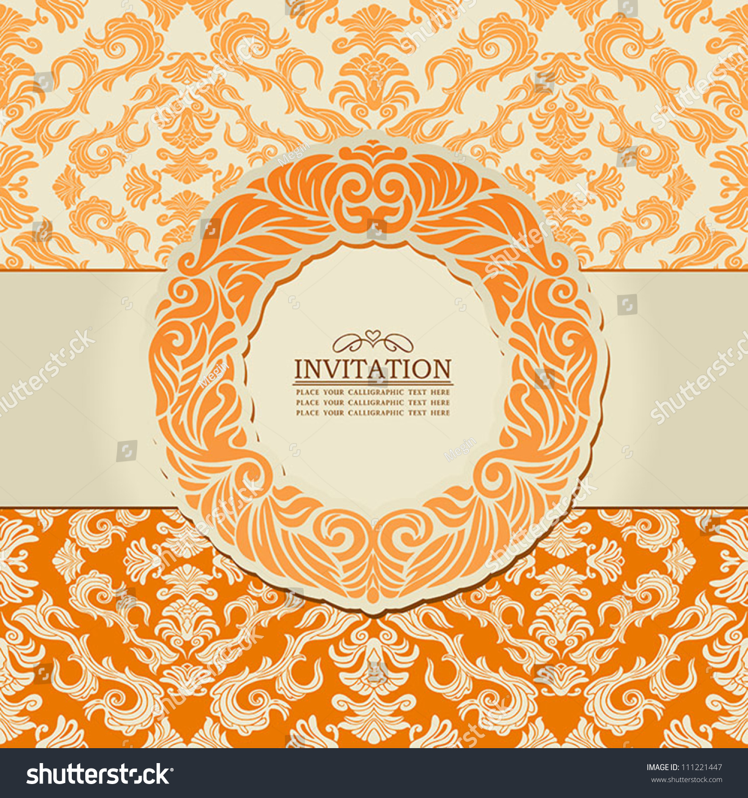 Vintage background ornate baroque pattern vector illustration stock -  Vectors Illustrations Footage Music Abstract Leaf Background Exclusive Creative Ornament Ornate Baroque Vintage Orange
