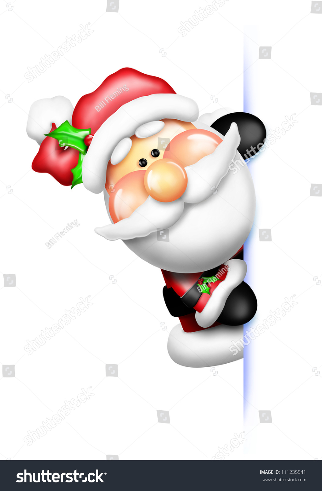 Whimsical cartoon santa peeking around corner stock