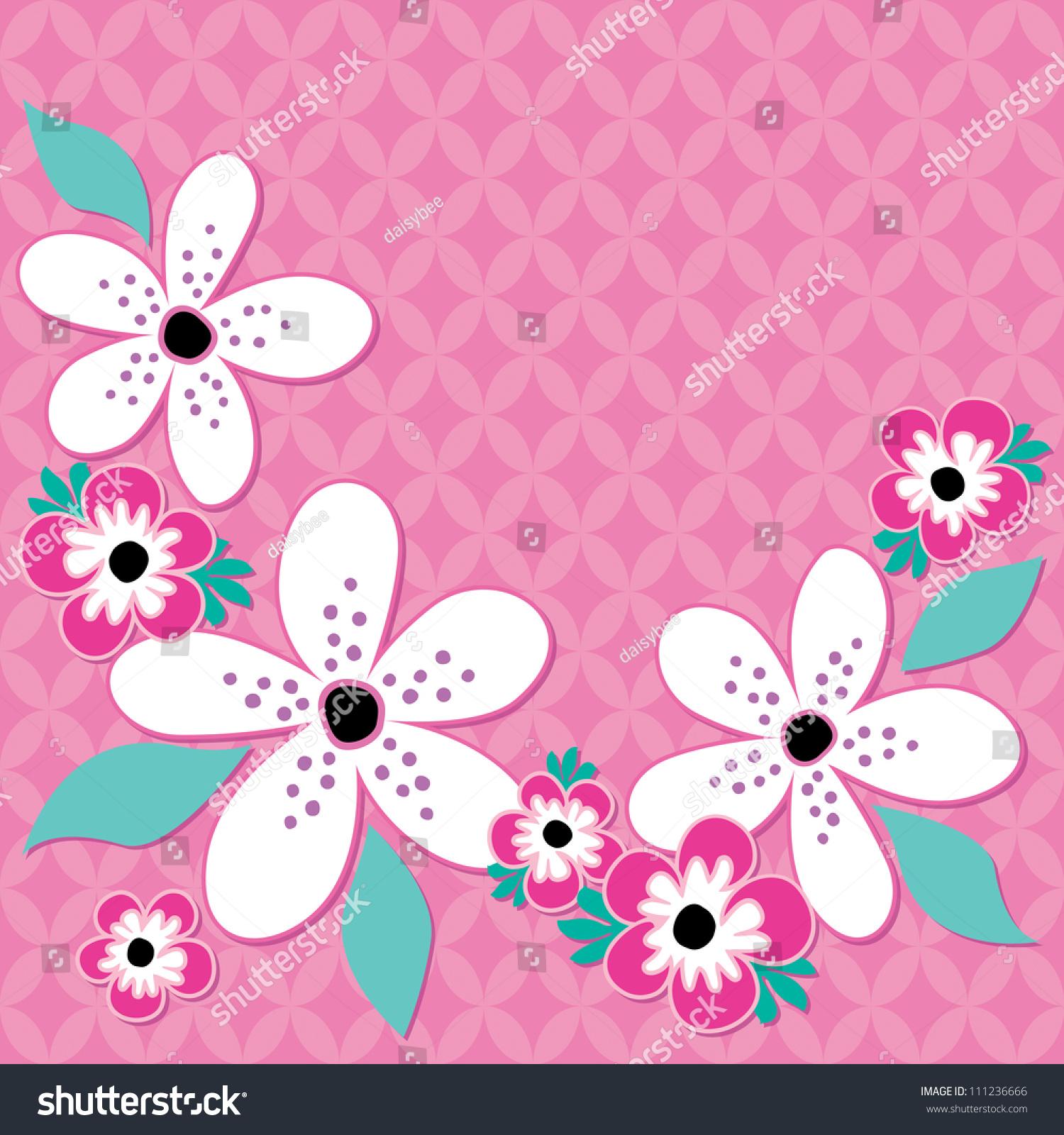 Raster Greeting Card Template Pink White Stock Illustration