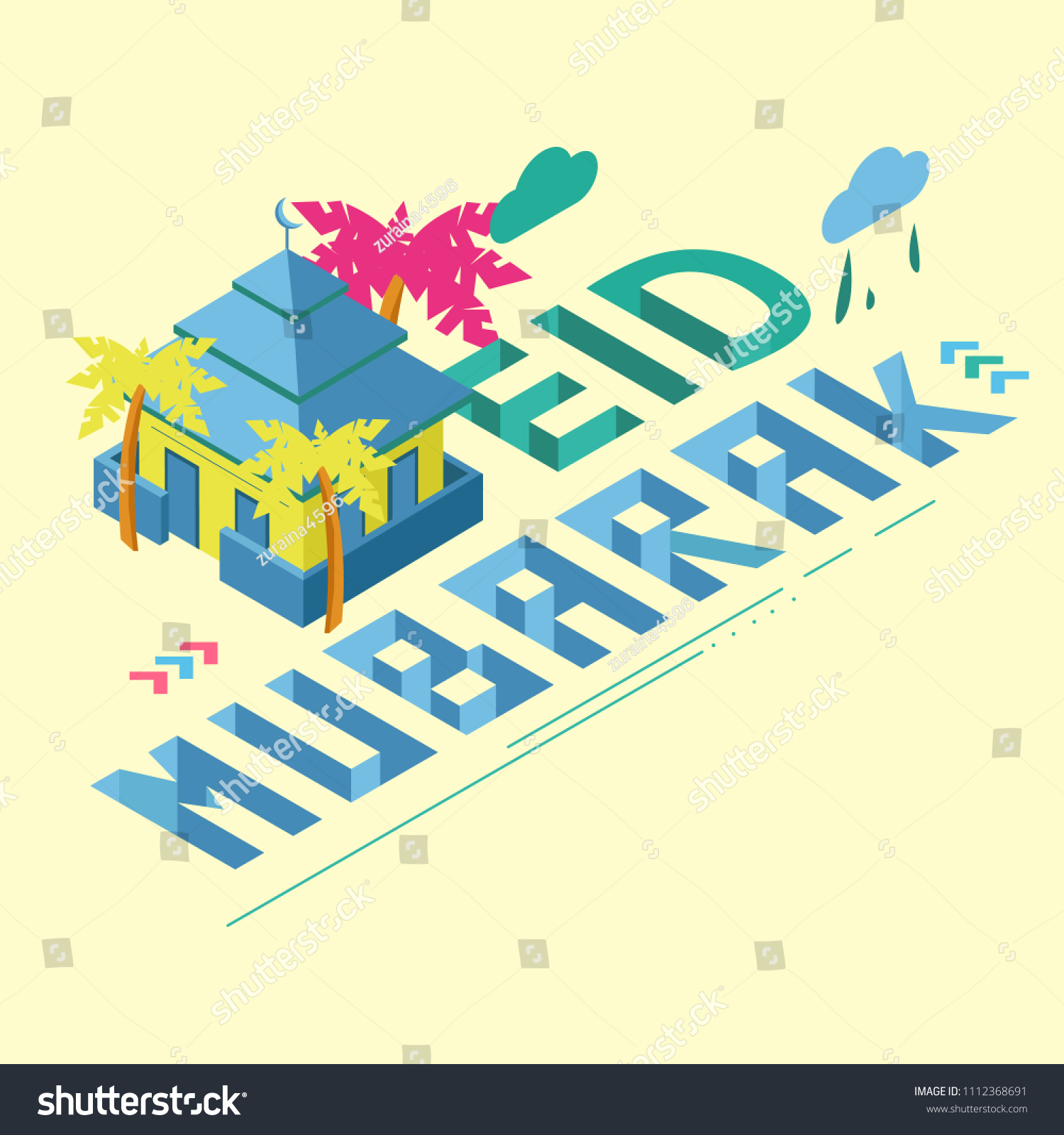 Eid Mubarak Isometric Greeting Card Illustration Stock Vector