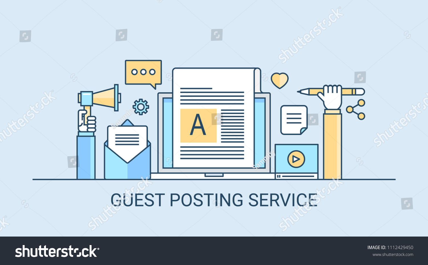Guest Posting Service Blog Content Blog Stock Vector