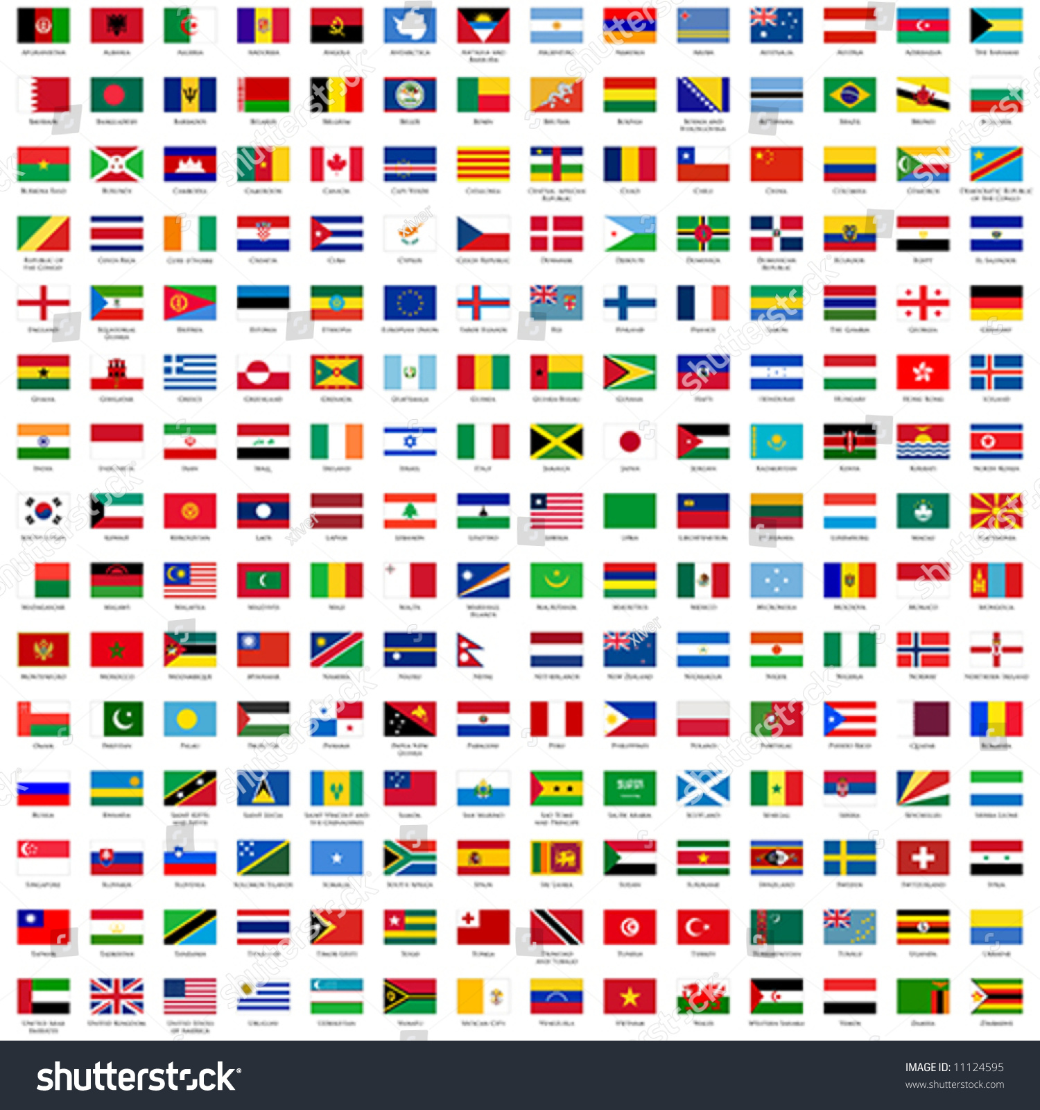 Alphabetically Sorted Flags World 3x2 Official Stock Vector ...