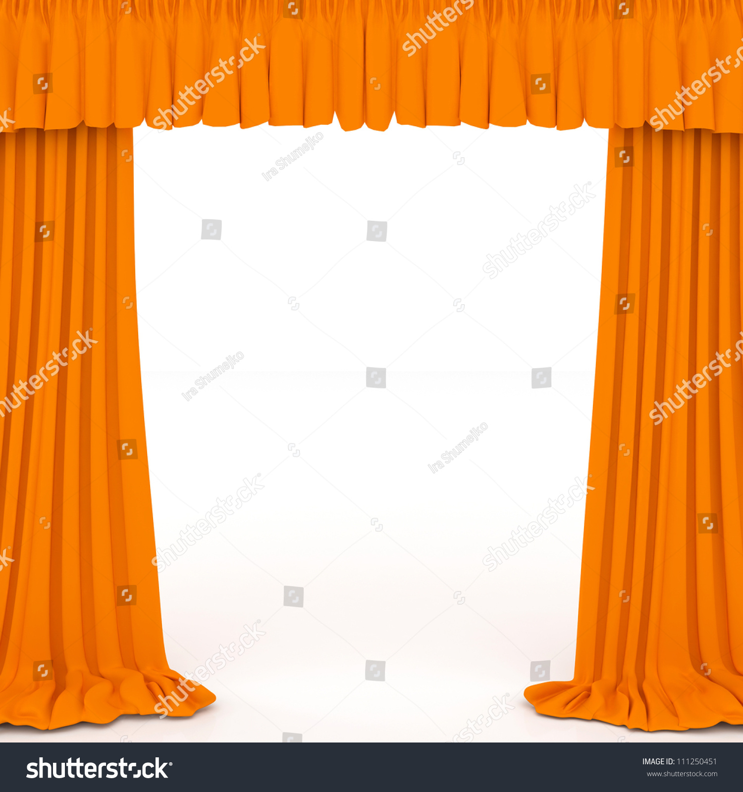 Orange Curtains On The White Background Stock Photo 111250451 Shutterstock