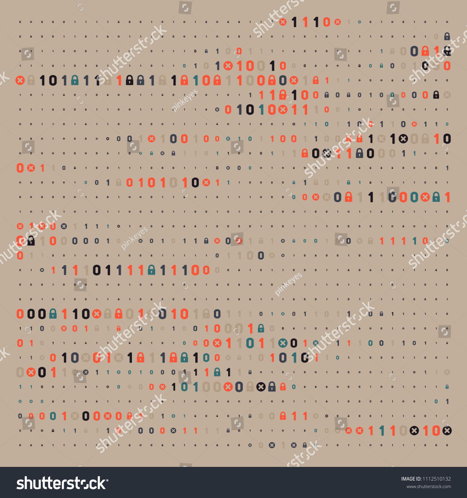 Streaming Abstract Binary Code Background Padlock Stock