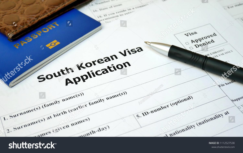 South Korean Visa Application Form Passport Stock Photo Edit Now 1112527538