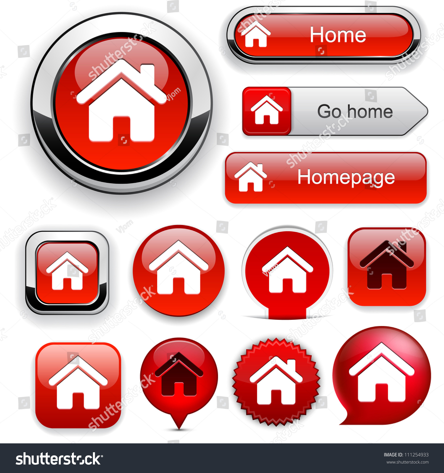 Home red design elements website app stock vector 111254933 shutterstock - Home design elements ...