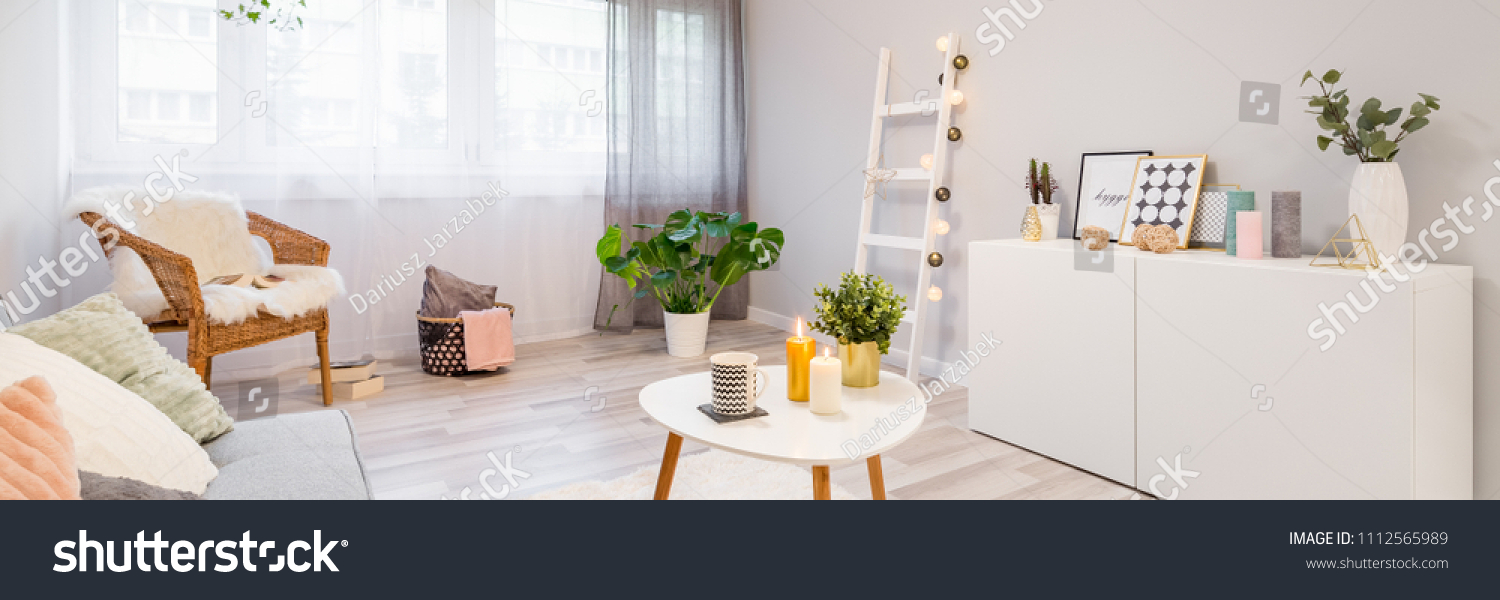 Pillows Frames Candles Plants Decorating Modern Stock Photo (Royalty ...